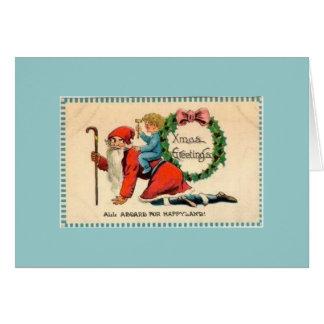 Template Vintage Elf Greeting Cards