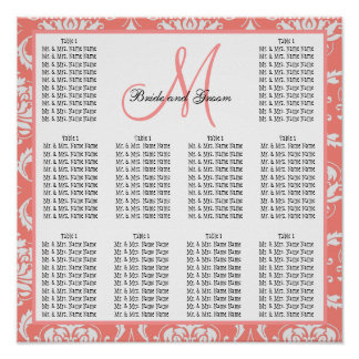 Template Wedding Seating Chart Damask Coral Pink