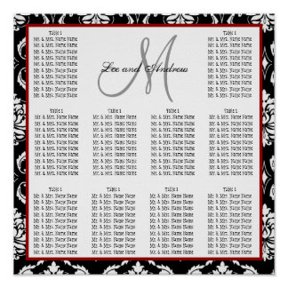 Template Wedding Seating Chart Damask Hot Red Print