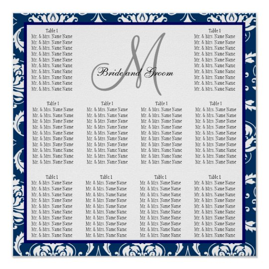Template Wedding Seating Chart Damask Navy Blue