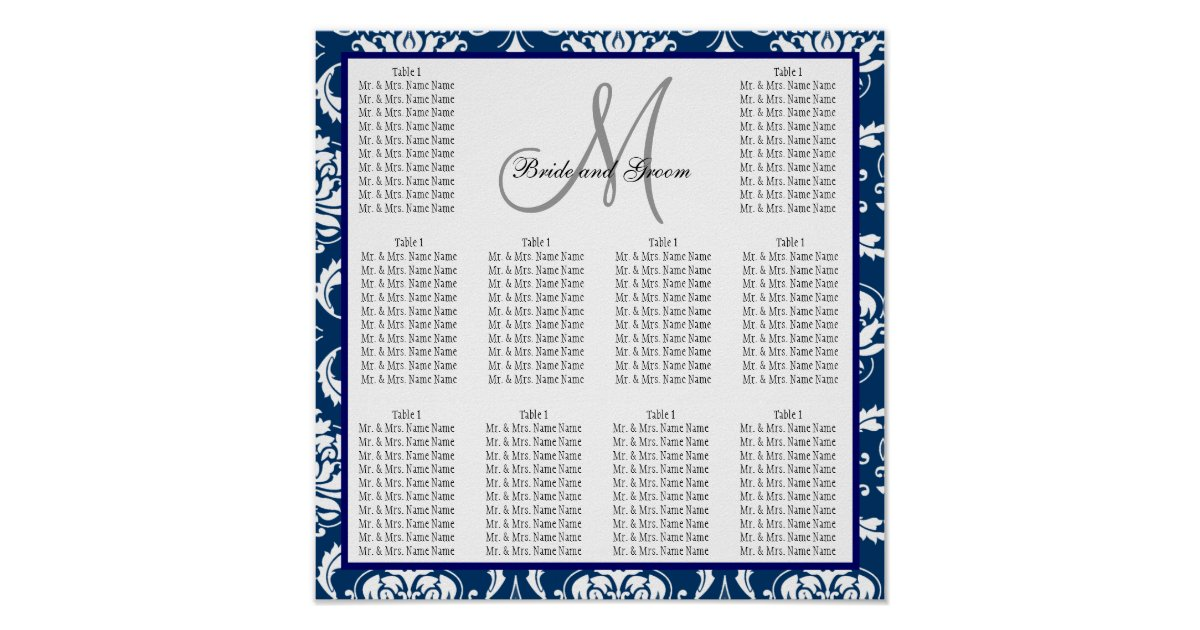 Template Wedding Seating Chart Damask Navy Blue Poster : Zazzle