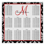 Template Wedding Seating Chart Damask Red Posters