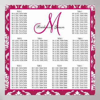Template Wedding Seating Chart Fuchsia Pink Damask