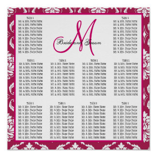 Template Wedding Seating Chart Fuchsia Pink Damask Poster