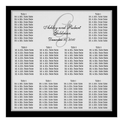 Template Wedding Seating Chart Monogram Names  Posters by monogramgallery