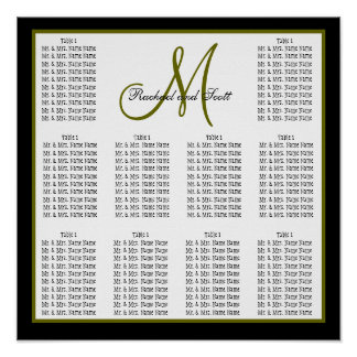 Template Wedding Seating Chart Monogram Names Poster