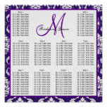 Template Wedding Seating Chart Purple Damask Posters