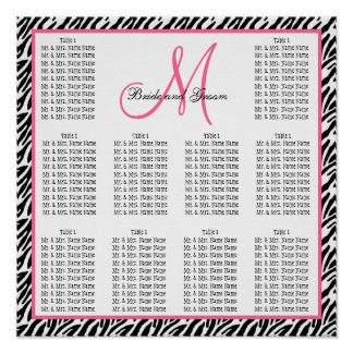 Template Wedding Seating Chart Zebra Pink Poster