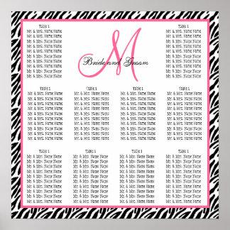 Template Wedding Seating Chart Zebra Pink Poster