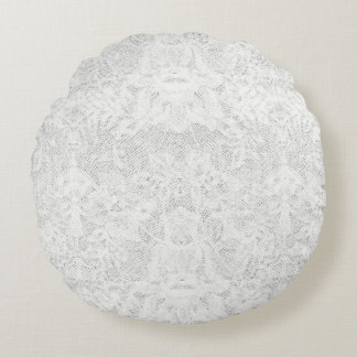 Template - White Lace Background Round Pillow
