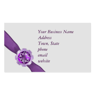 Template with purple ribbon and jewel Double-Sided standard business cards (Pack of 100)