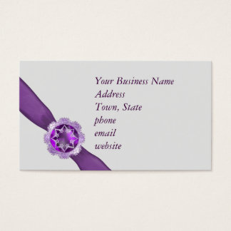 Template with purple ribbon and jewel business card