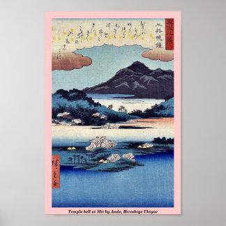 Temple bell at Mii by Ando, Hiroshige Ukiyoe Print