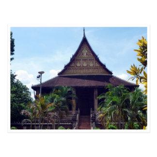 temple buddha laos postcard
