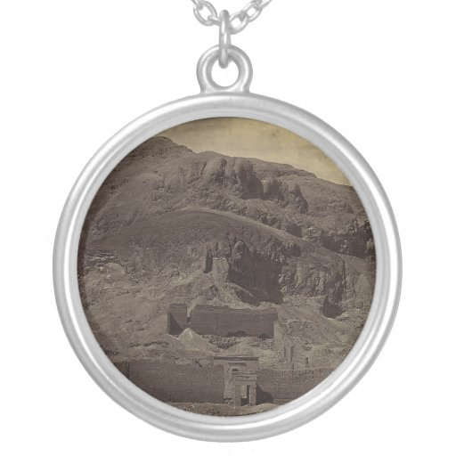 Temple carved into mountainside, Egypt circa 1856 Round Pendant Necklace