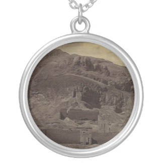 Temple carved into mountainside, Egypt circa 1856 Silver Plated Necklace