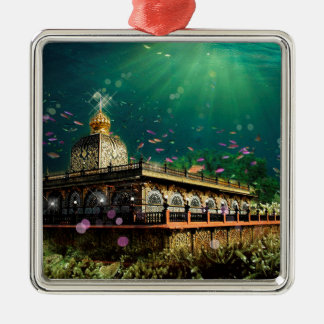 Temple Coral Reef water fantasy green gold Metal Ornament