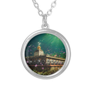 Temple Coral Reef water fantasy green gold Silver Plated Necklace
