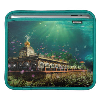 Temple Coral Reef water fantasy green gold Sleeve For iPads