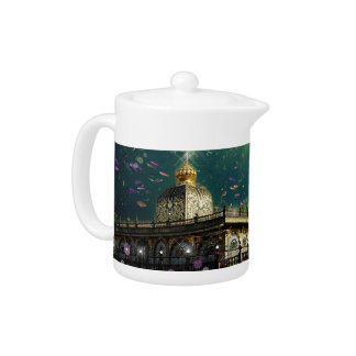 Temple Coral Reef water fantasy green gold Teapot
