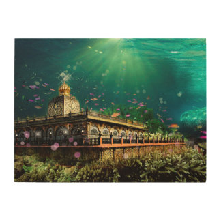 Temple Coral Reef water fantasy Wood Wall Art