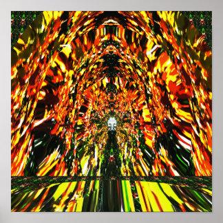 Temple design digital Energy flow  Reiki Master Poster