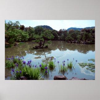 TEMPLE GARDEN BLUE WATER IRISES - KYOTO POSTER