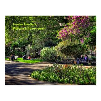 Temple Gardens, Victoria Embankment, London Postcard