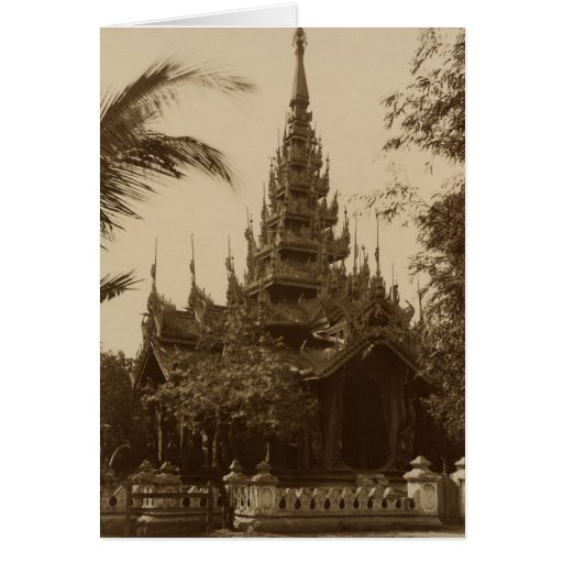 Temple in Mandalay, Burma, late 19th century Card