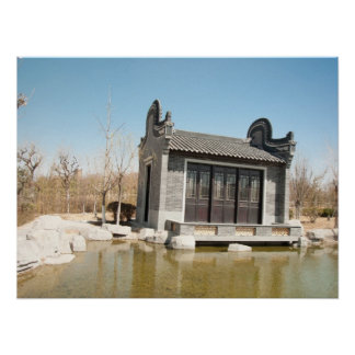 Temple in the water with blue sky poster