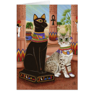 Temple of Bastet Egypt Bast Goddess Cat Art Card