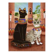 Temple of Bastet Egypt Bast Goddess Cat Postcard