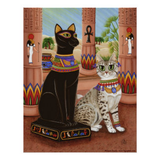 Temple of Bastet Egypt Bast Goddess Cat Poster