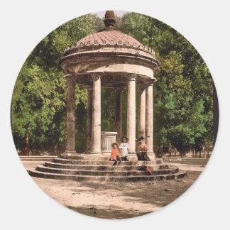 Temple of Bosco, Rome, Italy classic Photochrom Round Sticker