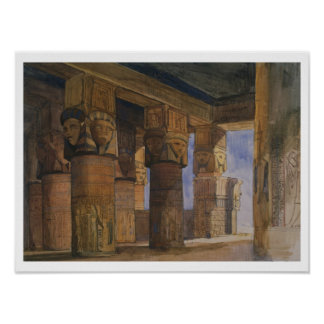 Temple of Denderah, Upper Egypt (w/c on paper) Poster