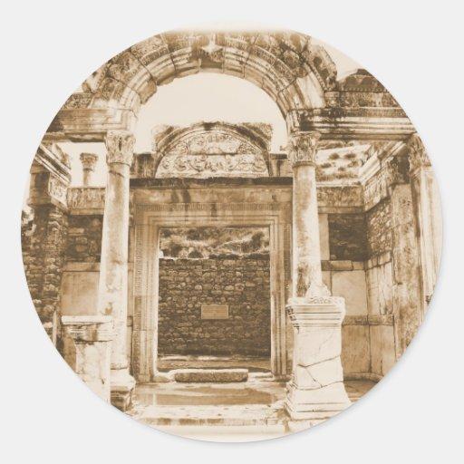 Temple of Hadrian in Ephesus VINTAGE PHOTOGRAPH Round Sticker
