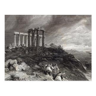 Temple of Minerva Sunium, engraved by J. Saddler Postcard