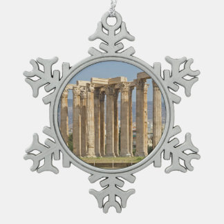Temple of Olympian Zeus, Athens, Greece Snowflake Pewter Christmas Ornament