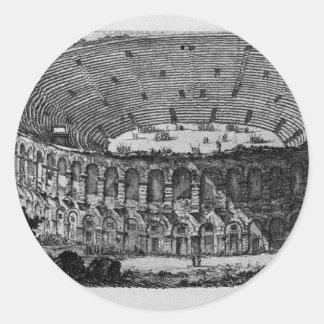 Temple of Pola in Istria by Giovanni Battista Classic Round Sticker