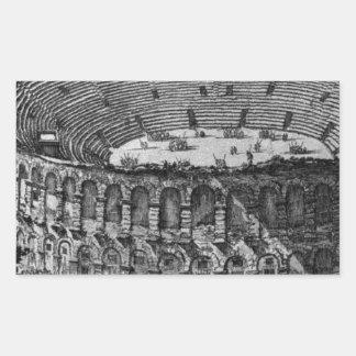 Temple of Pola in Istria by Giovanni Battista Rectangular Sticker