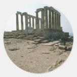 Temple of Poseidon Ruins Round Sticker