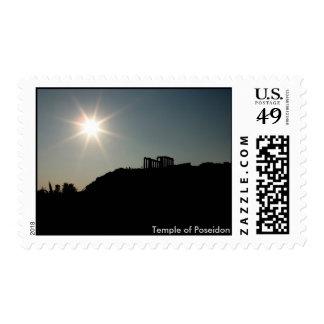 Temple of Poseidon silhouette; Sounion, Greece Postage Stamp