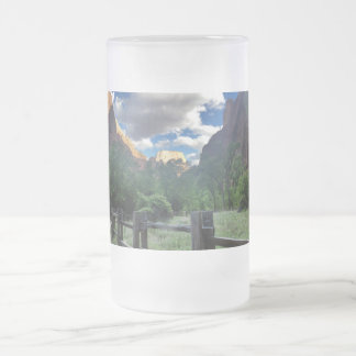 Temple of Sinawava Zion National Park Utah Frosted Glass Beer Mug