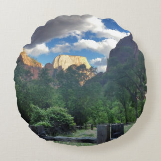 Temple of Sinawava Zion National Park Utah Round Pillow