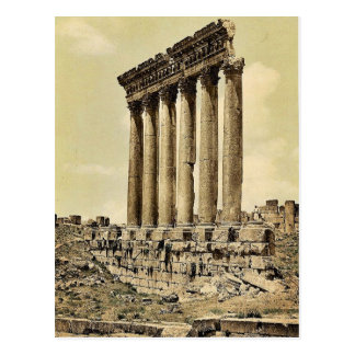 Temple of the Sun, side view, Baalbek, Holy Land, Postcard