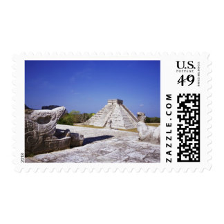 Temple of the Warriors Chac-Mool Statues with Postage Stamp