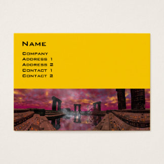 TEMPLE OF THE WATER Purple Yellow Science Fiction Business Card