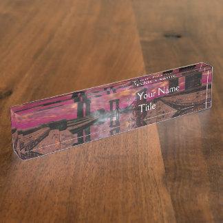 TEMPLE OF WATER Science Fiction,Sci-Fi Desk Name Plate