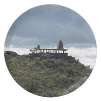 Temple on a hill plate
