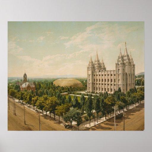 Temple Square Salt Lake City Utah in 1899 Posters